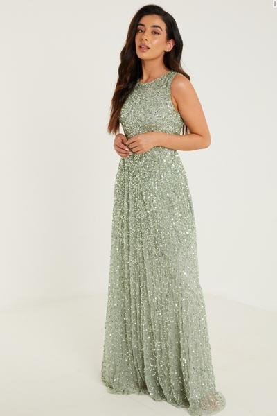 Petite Sage Sequin Maxi Dress